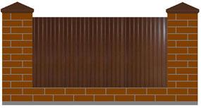 Забор с кирпичными столбами, Установка заборов